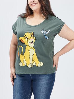 T shirt Le Roi lion vert kaki femmegt