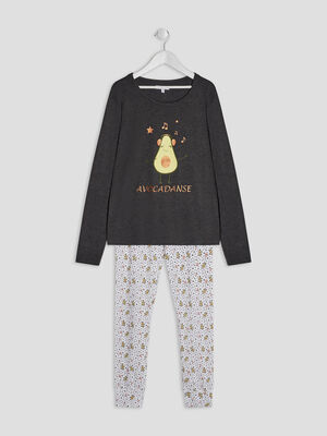 Ensemble pyjama 2 pieces vert kaki fille
