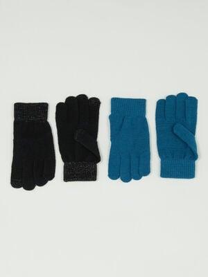 Lot de 2 paires de gants unis noir mixte