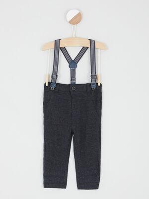 Pantalon coton avec bretelles gris fonce garcon