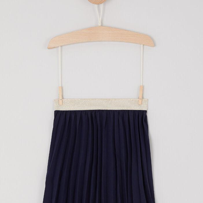 Jupe évasée plissée fille bleu marine