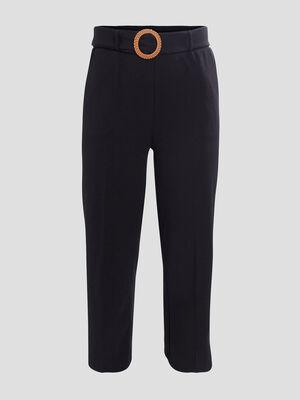 Pantalon droit ceinture noir femmegt