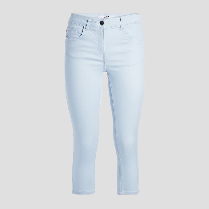 Pantacourt slim en jean femme bleu ciel