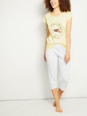 Pyjama 2 pieces fantaisie jaune femme