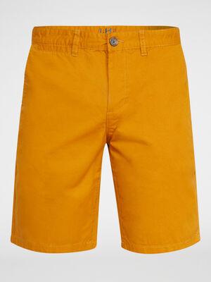 Bermuda uni en coton jaune moutarde homme
