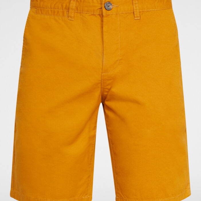 Bermuda uni en coton homme jaune moutarde
