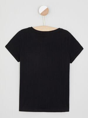 T shirt manches courtes a motifs noir fille