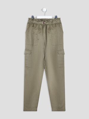 Pantalon cargo fluide vert kaki fille