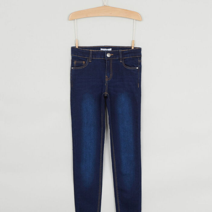 Jeans skinny effet délavé fille denim brut