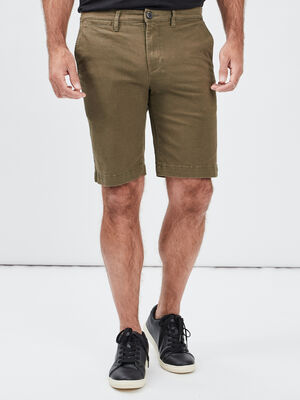 Bermuda droit vert kaki homme