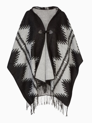 Poncho a capuche motif graphique gris mixte