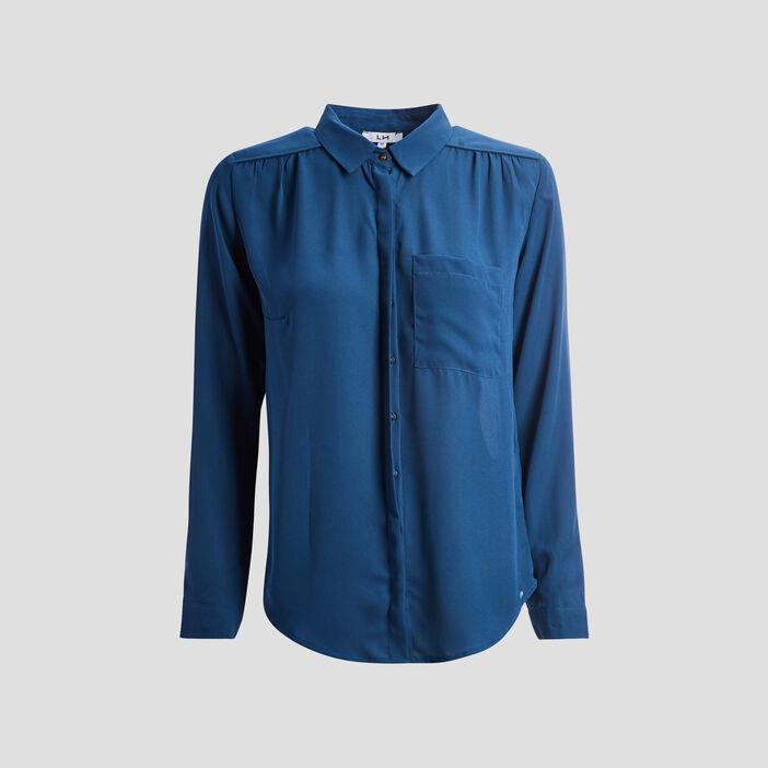 Chemise manches longues femme bleu canard