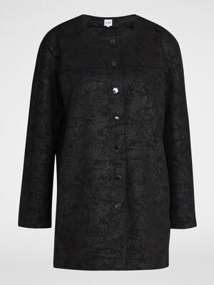 Manteau coupe droite effet velours noir femme
