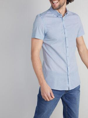 Chemise imprimee en coton blanc homme
