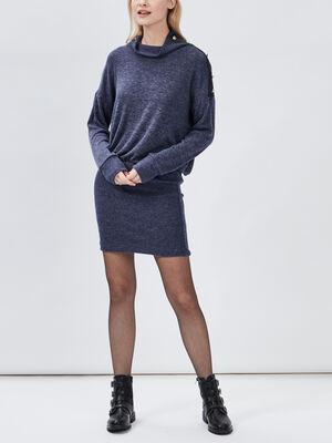 Robe pull ajustee avec boutons bleu femme