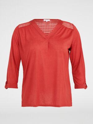 T shirt uni avec dentelle fantaisie orange fonce femme