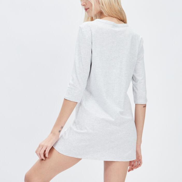 Chemise de nuit manches 3/4 femme gris clair