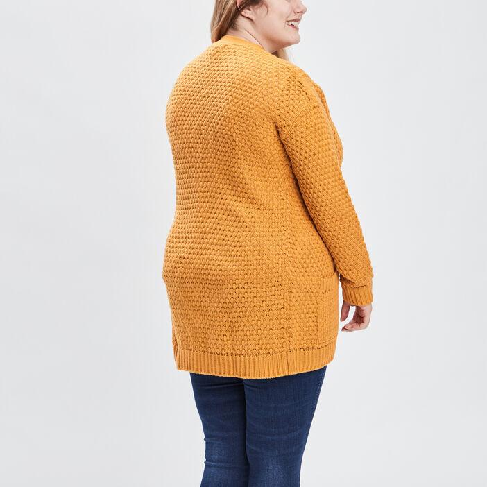 Gilet grande taille femme grande taille jaune moutarde