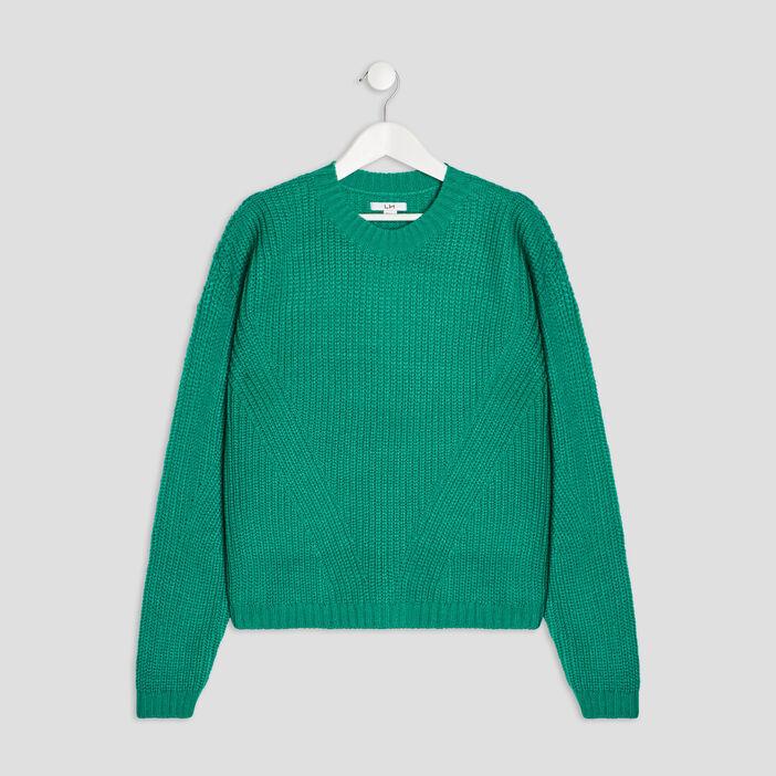Pull avec col rond fille vert