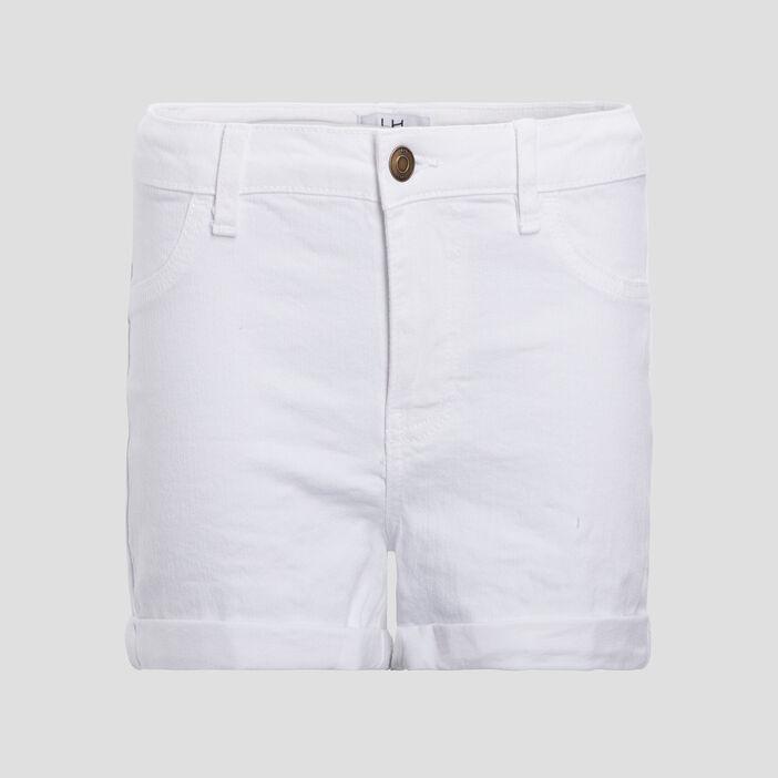 Short slim en jean femme blanc