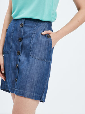 Jupe droite boutonnee en jean denim stone femme