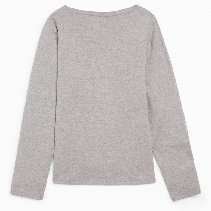 T-shirt uni en coton fille gris