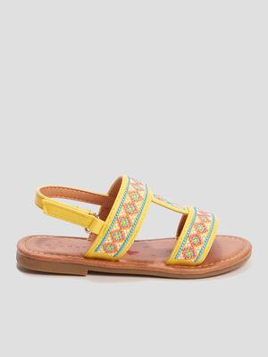 Sandales brodees Creeks jaune fille