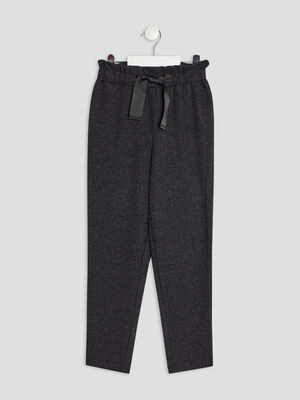 Pantalon jogging droit gris fonce fille