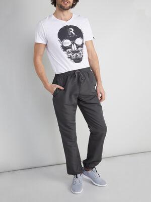Jogging uni toile enduite gris fonce homme