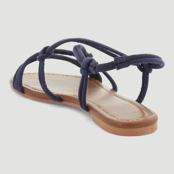 Sandales lanières nouées femme bleu