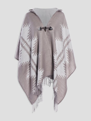 Poncho a capuche taupe mixte