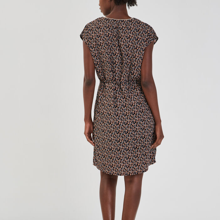 Robe droite ceinturée femme noir