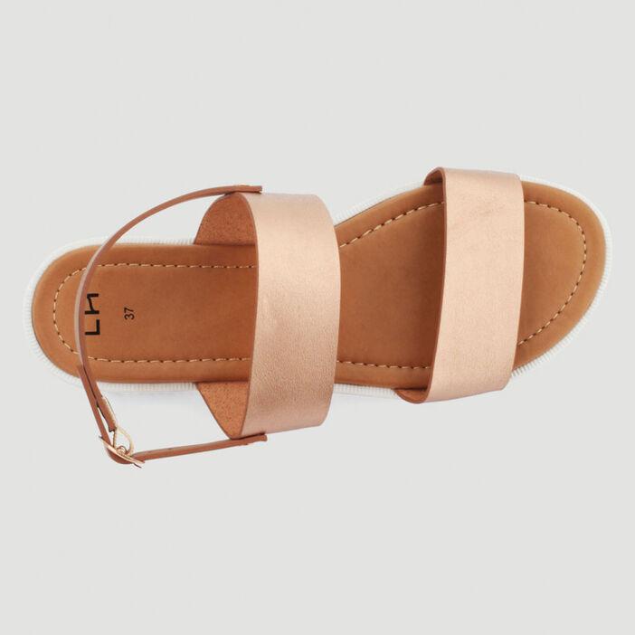 Sandales métallisées 2 lanières femme rose