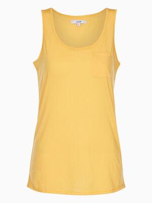 Debardeur 1 poche devant jaune moutarde femme