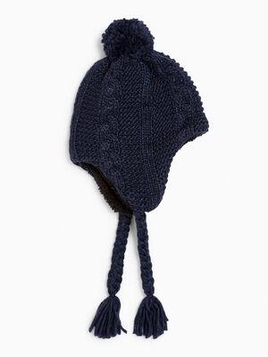 Bonnet peruvien avec pompon bleu marine mixte