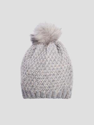 Bonnet a pompon gris