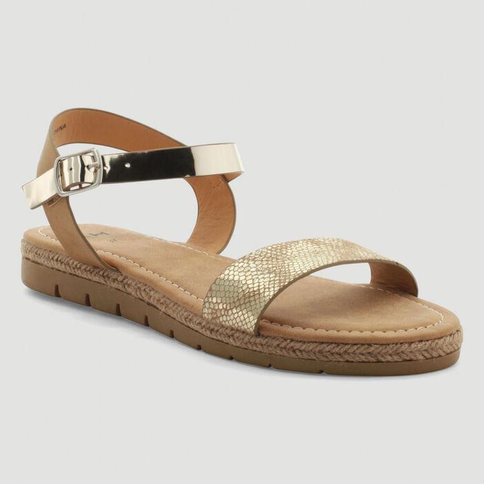 Sandales bicolores femme couleur or
