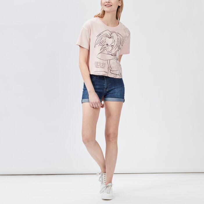 T-shirt manches courtes Naruto femme rose poudrée