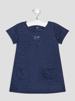 Robe trapeze a manches courtes bleu marine bebef