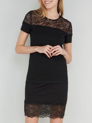 T shirt avec epaules en dentelle noir femme