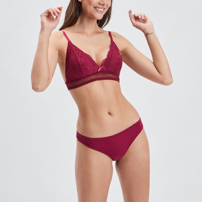 Soutien-gorge triangle dentelle femme rose framboise