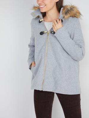 Manteau evase avec capuche gris femme