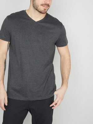 T shirt col V en coton gris fonc homme