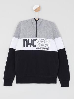 Sweatshirt a capuche encolure zippe noir garcon