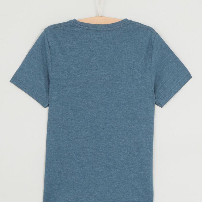T-shirt chiné à manches courtes garçon bleu gris