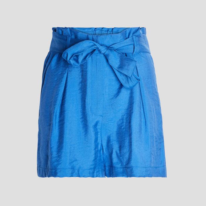 Short paperbag fluide femme bleu roi