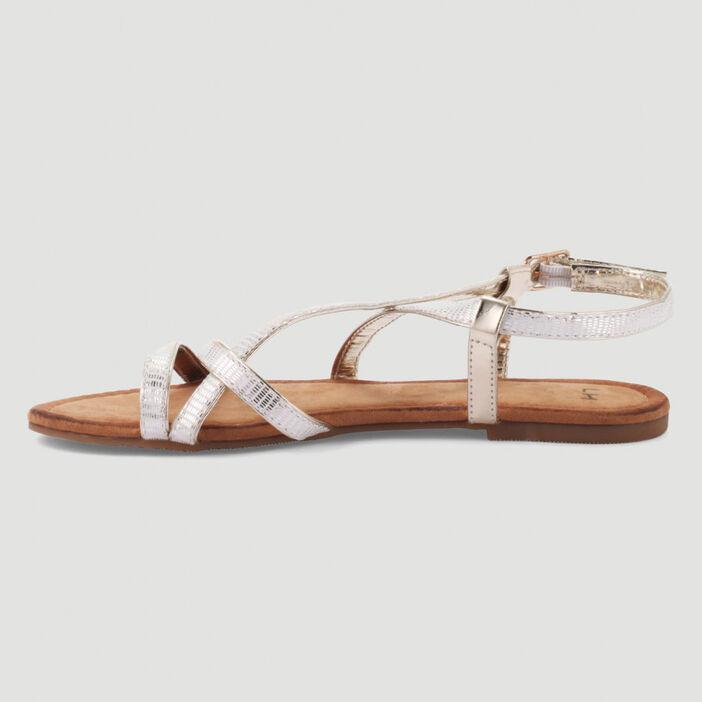 Sandales fines brides effet serpent femme blanc