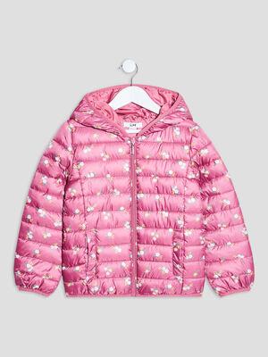 Doudoune droite a capuche rose framboise fille