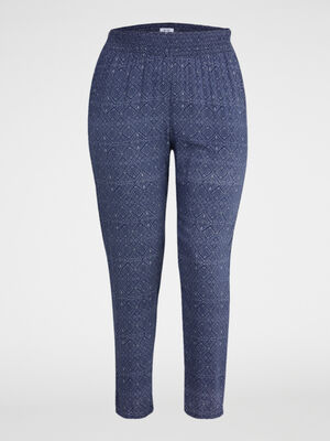 Pantalon imprime taille smockee bleu femme