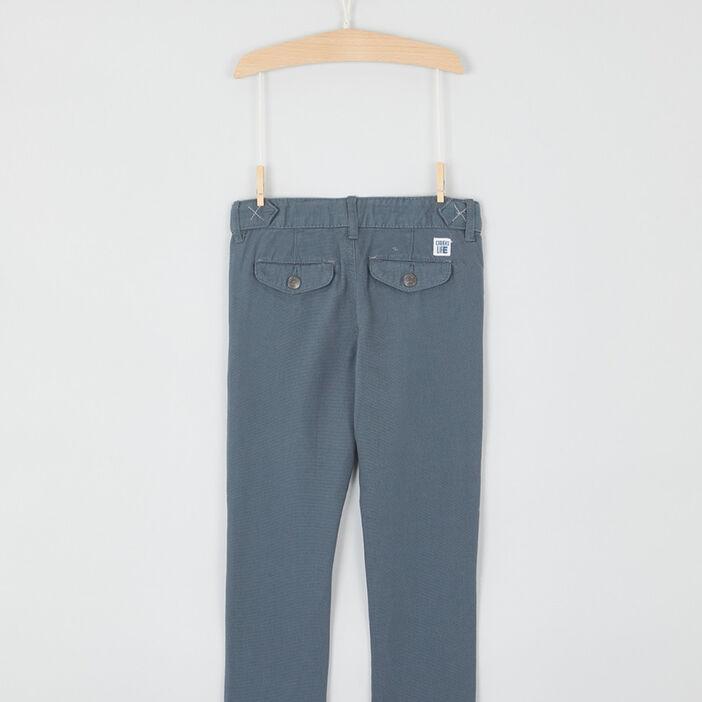 Chino uni en coton garçon bleu gris